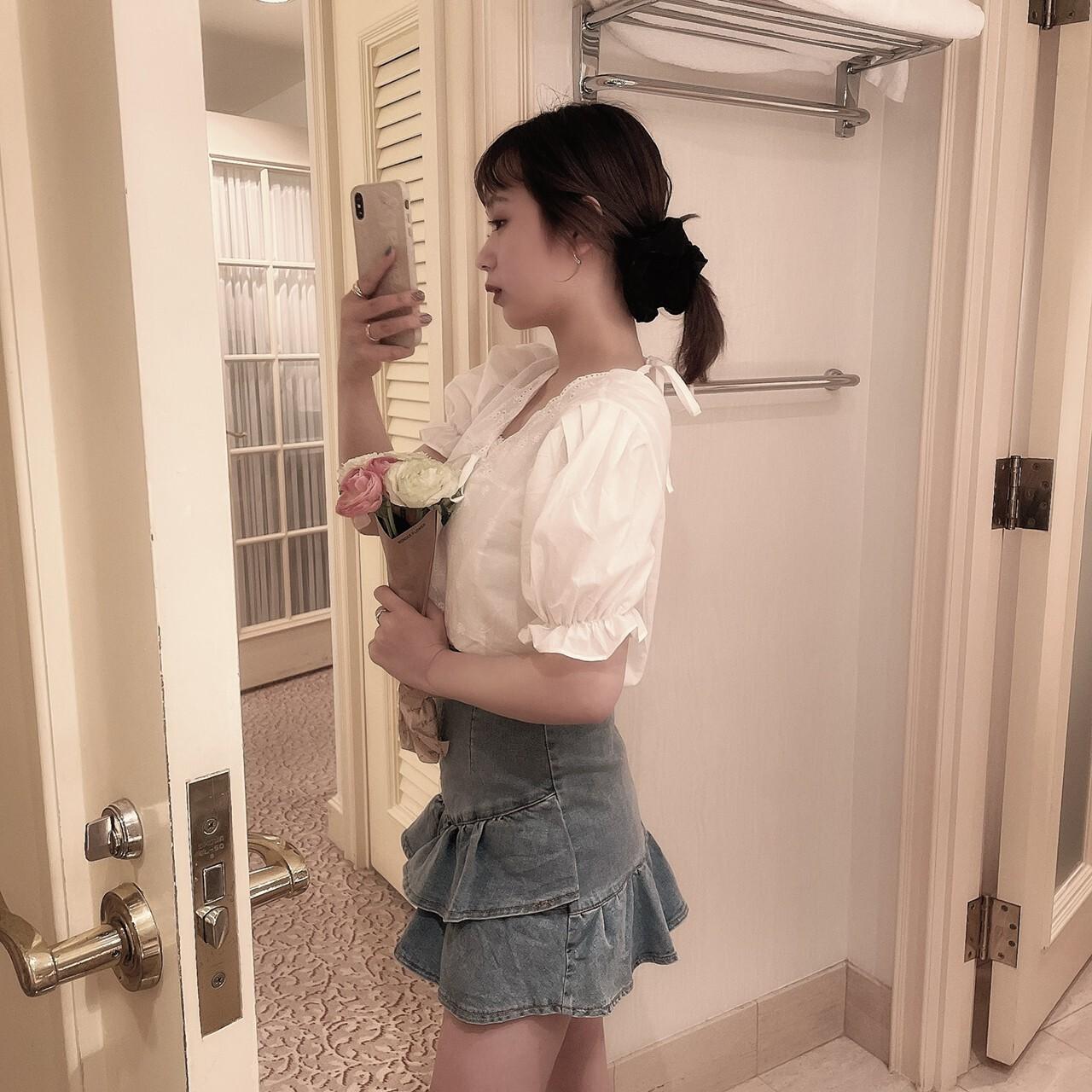 【meltie】girly frill denim skirt