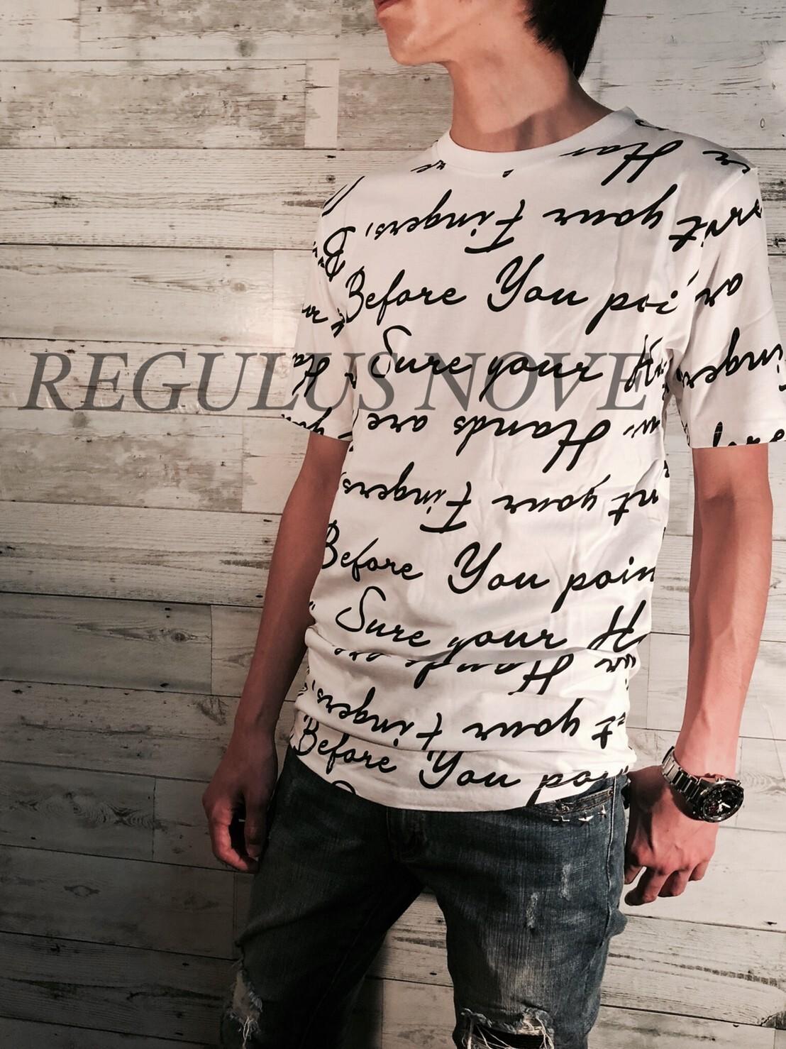 REGULUS NOVE  ランダムメッセージプリントロングTシャツ WHITE ユニセックス レディース メンズ オーバーサイズ 大きいサイズ 派手 韓国 プリント 個性的 ストリート ロック