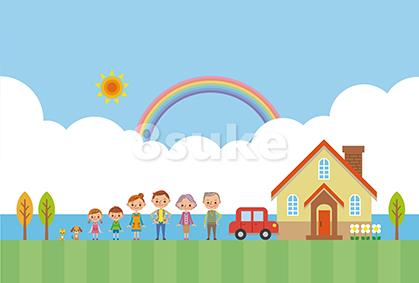 イラスト素材:海辺のマイホームと家族(ベクター・JPG)