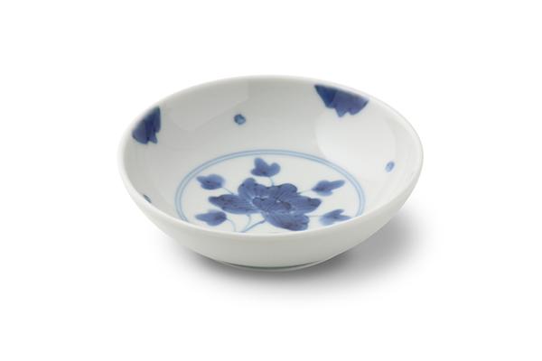 染付伊万里牡丹3.5寸丸小皿