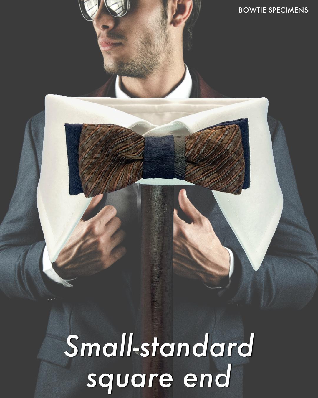 スモールスタンダード・スクエアエンド (ブラウン/ストライプ×ダークネイビー) 作り結び型〈蝶ネクタイ ダーク ブラウン 茶 ワンタッチ フック式〉