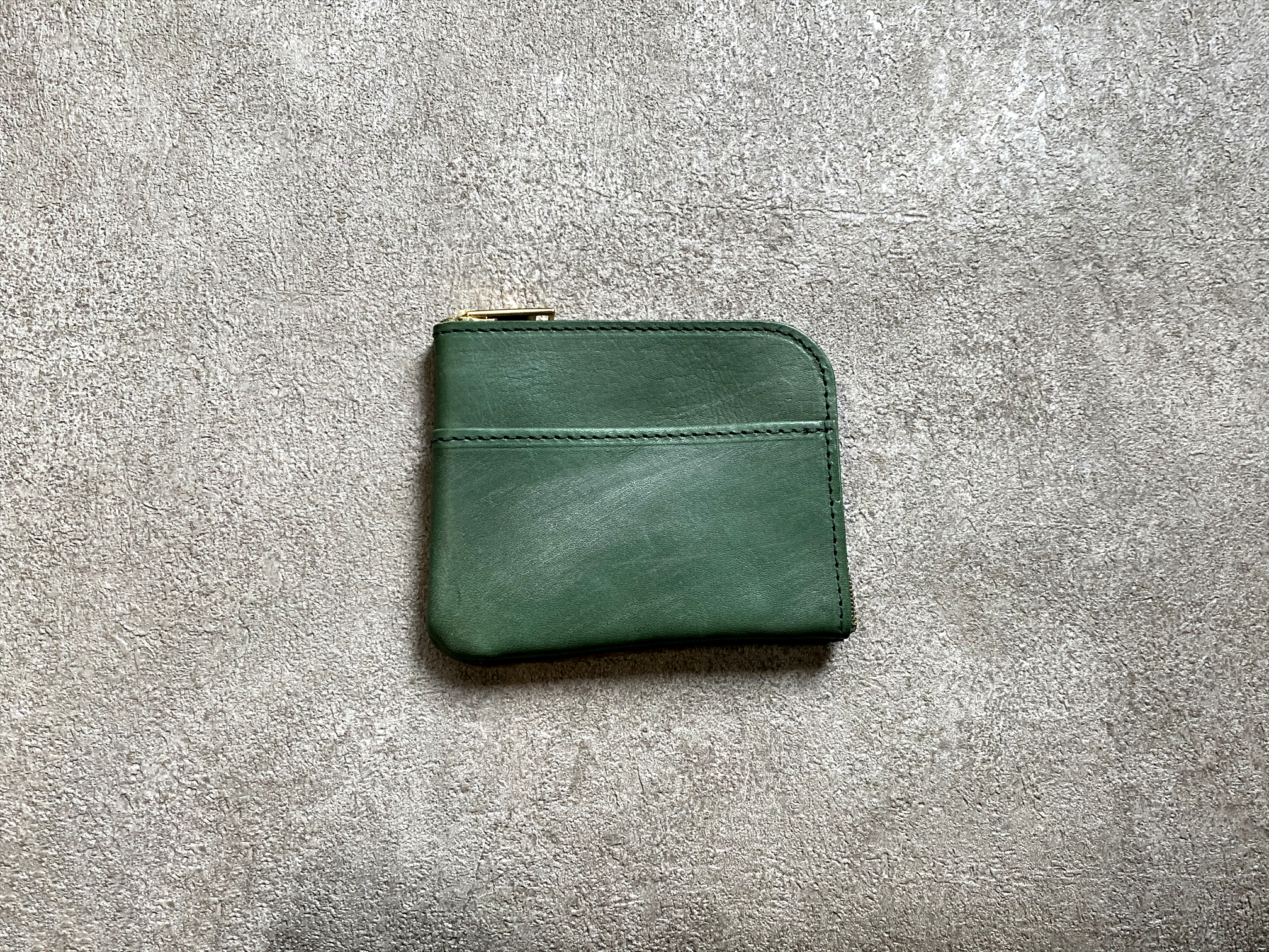 L-shaped Small Wallet: (vegetable tanned and waxed leather) Color : Green