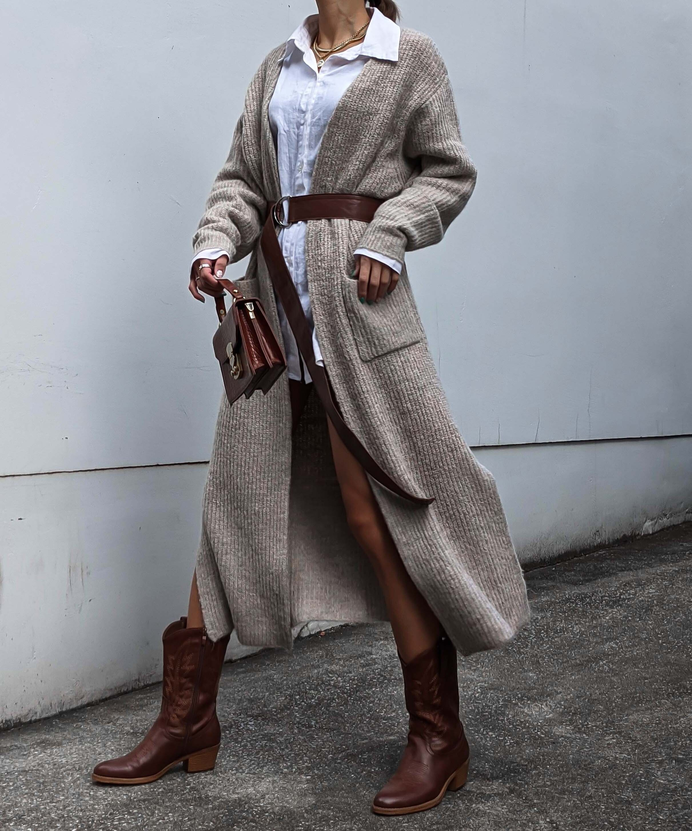 Belted long cardigan