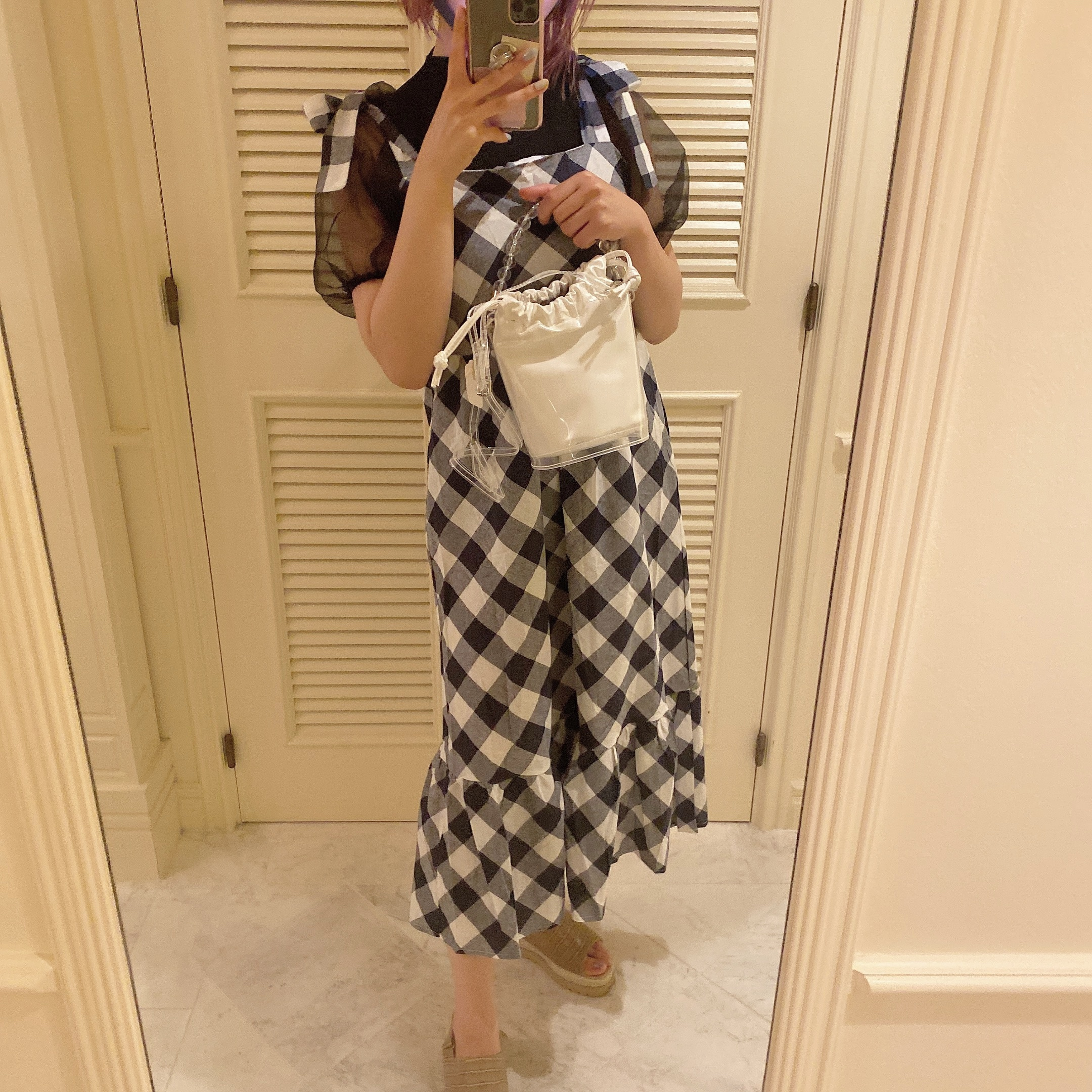 【LAST3】gingham check ribbon onepiece
