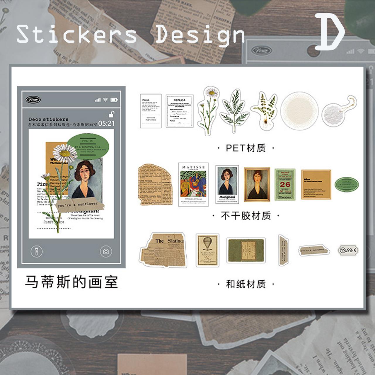 コラージュ素材 ステッカー 全4種 シール ほぼ日 手帳 花 色別 レトロ 装飾 素材 スクラップブッキング G05