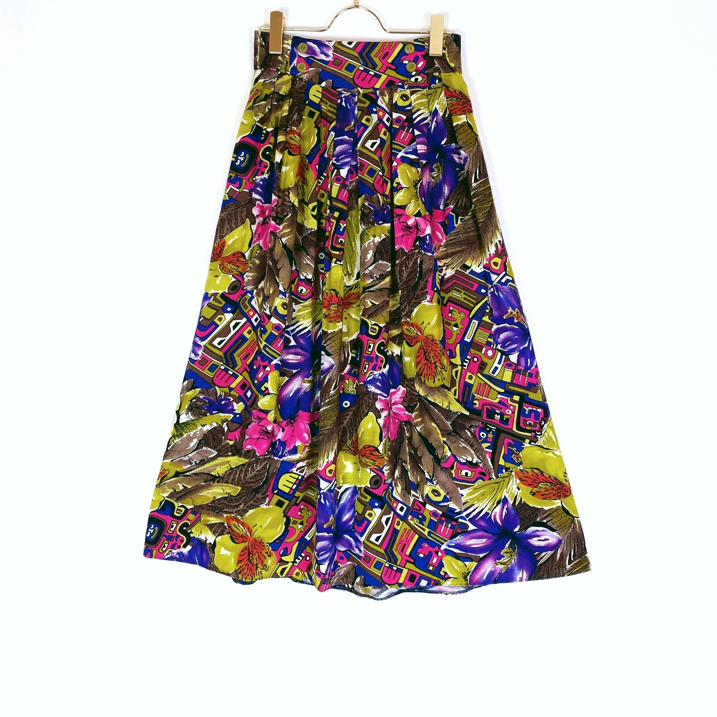 ◼︎80s vintage Bohemian print rayon skirt from Germany◼︎