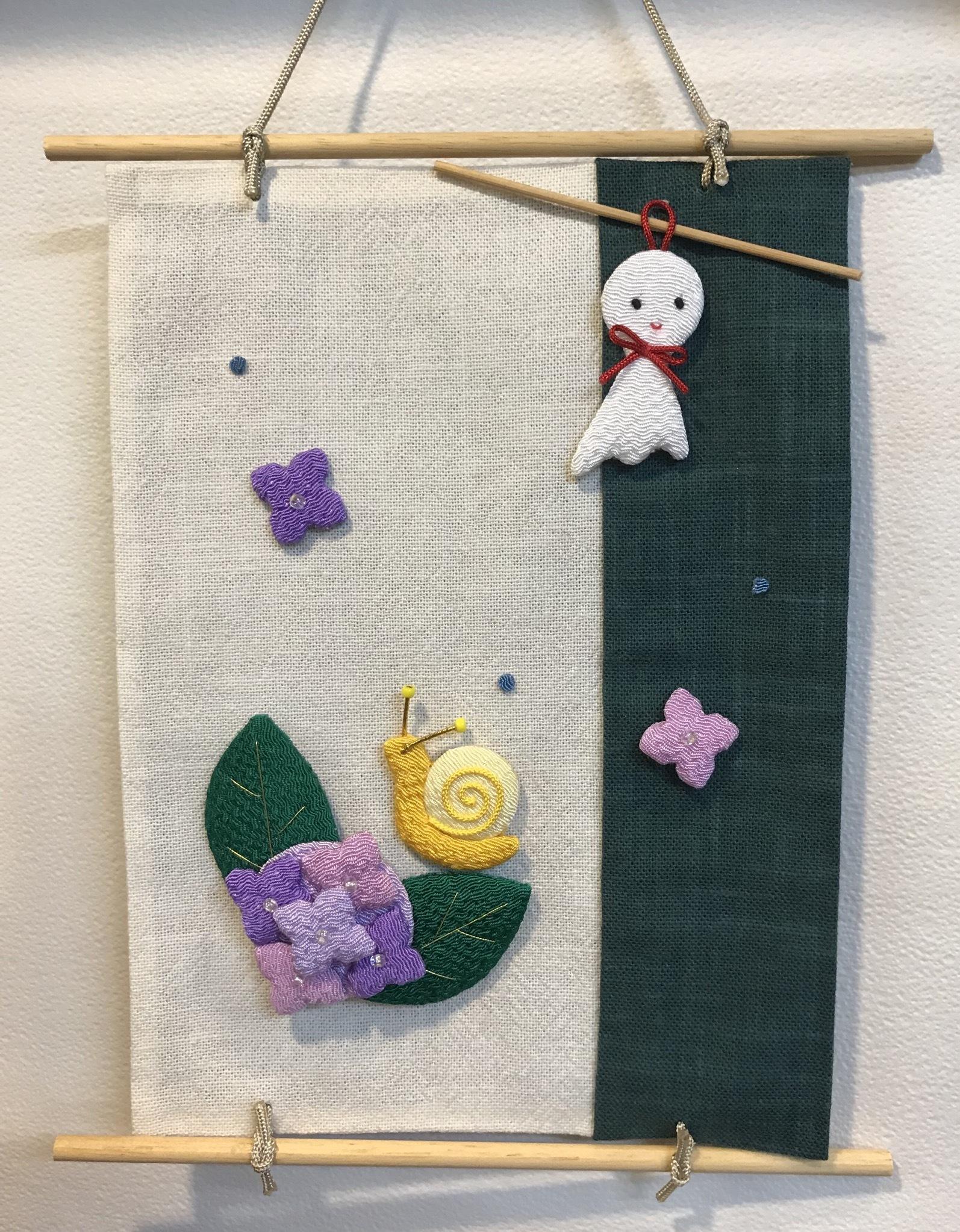 ちりめん押絵紫陽花の彩りミニタペストリー