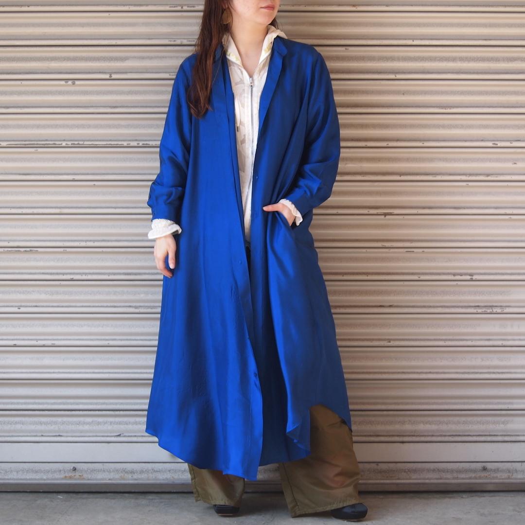 【hippiness】cupro long shirt one-piece/ 【ヒッピネス】キュプラ ロング シャツ ワンピース