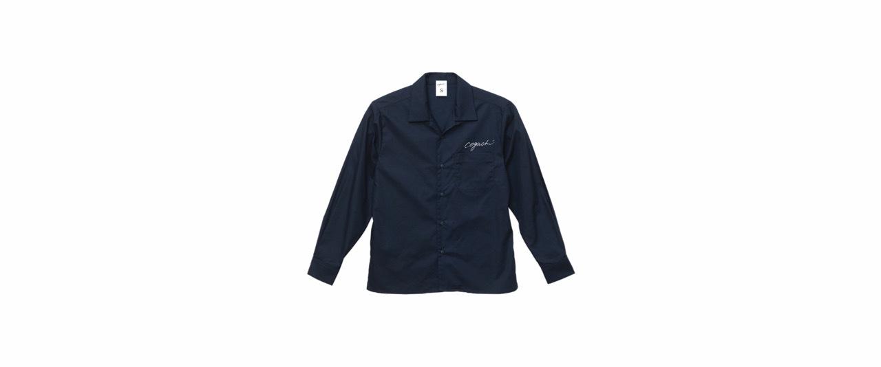coguchi open collar shirt (NVY/WH)