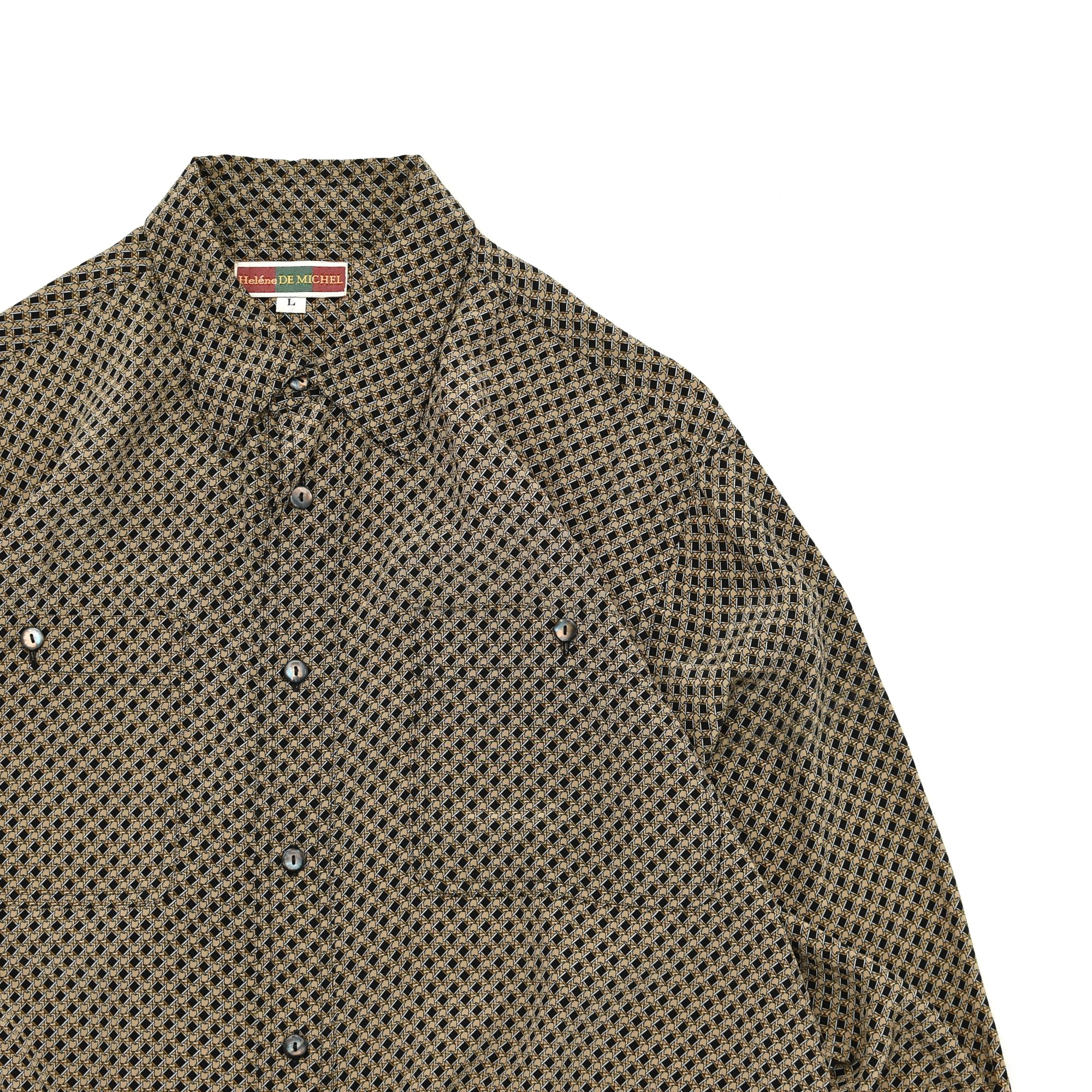 Geometric full pattarn design SILK shirt