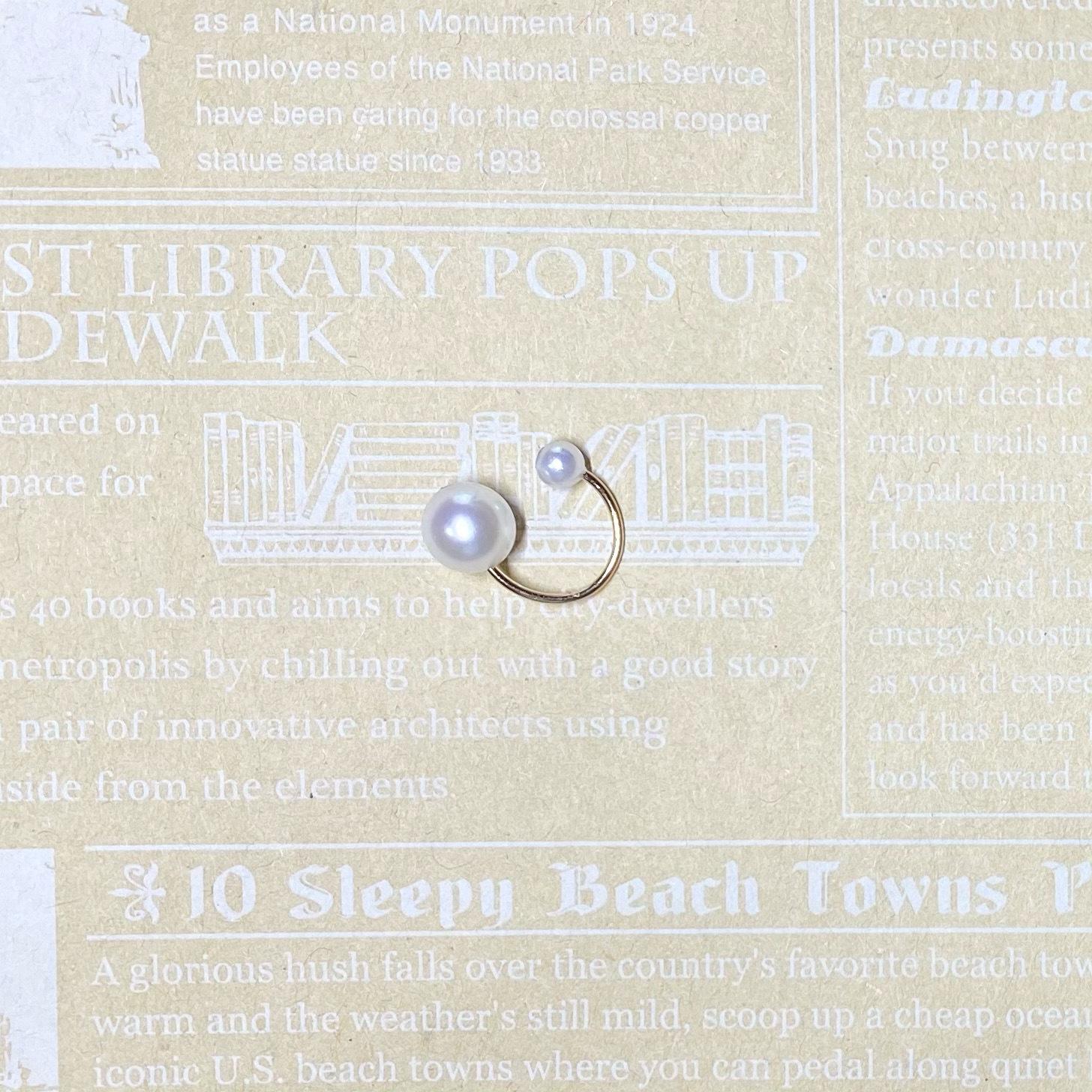 (14KGF)アコヤ真珠とシェル真珠のイヤーカフス