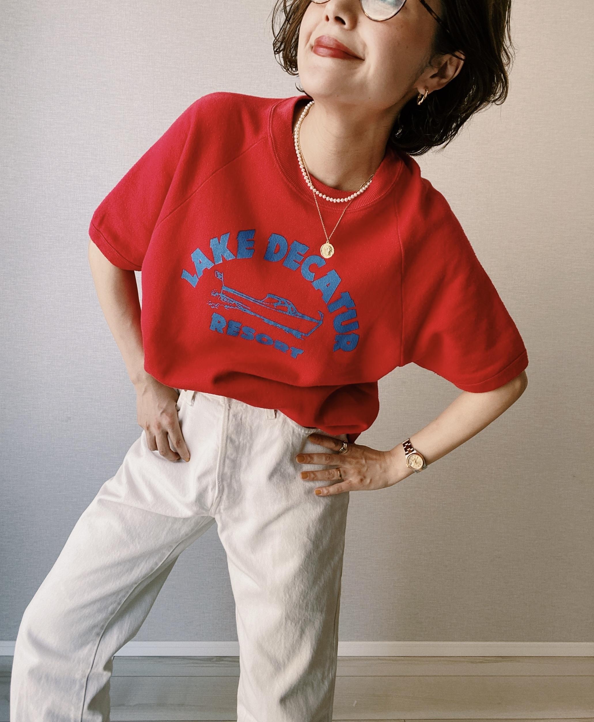 (CS285)90's JERZEES half sleeve sweat made in USA