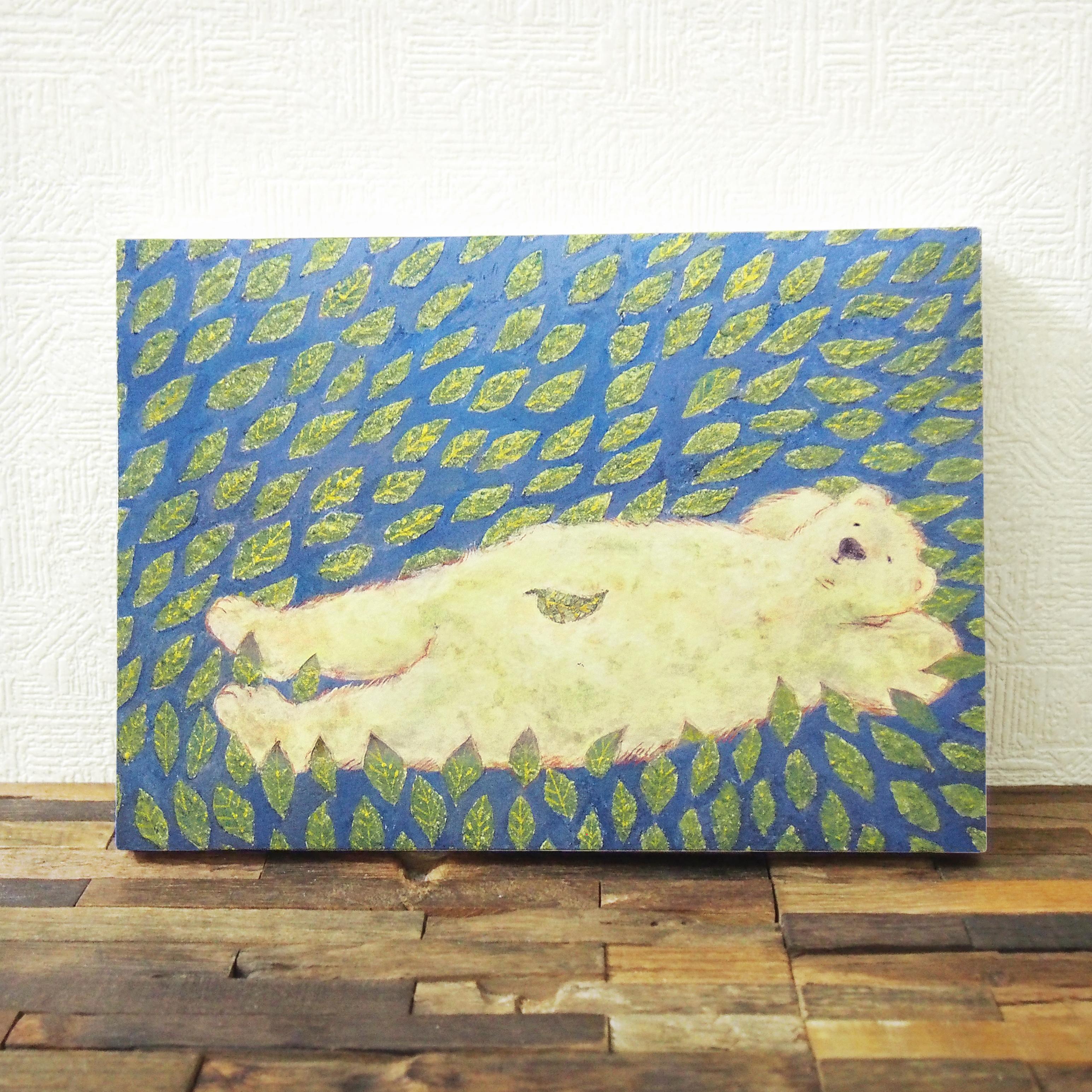 *ねころぶクマの絵 (複製) 木製パネルサイズ変更可