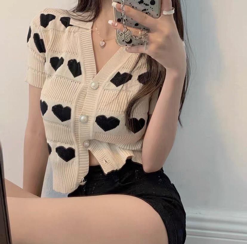 heart cardigan tops