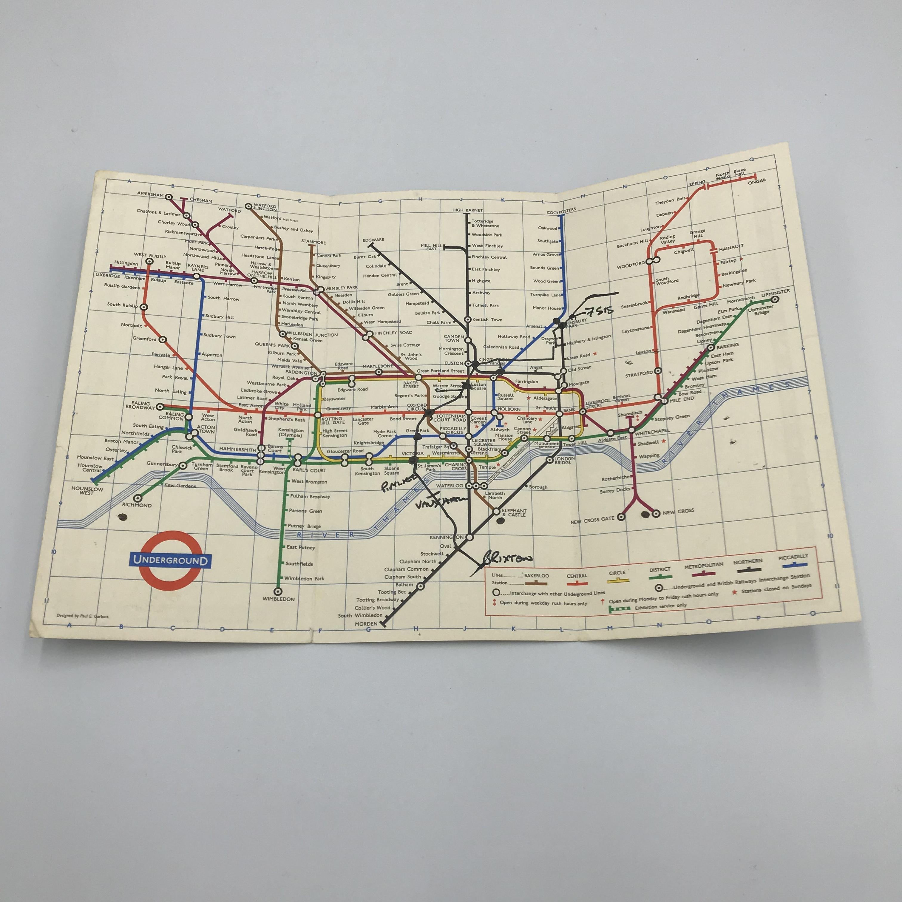 1964年 ロンドンunderground ハンドマップ ヴィンテージ 地図