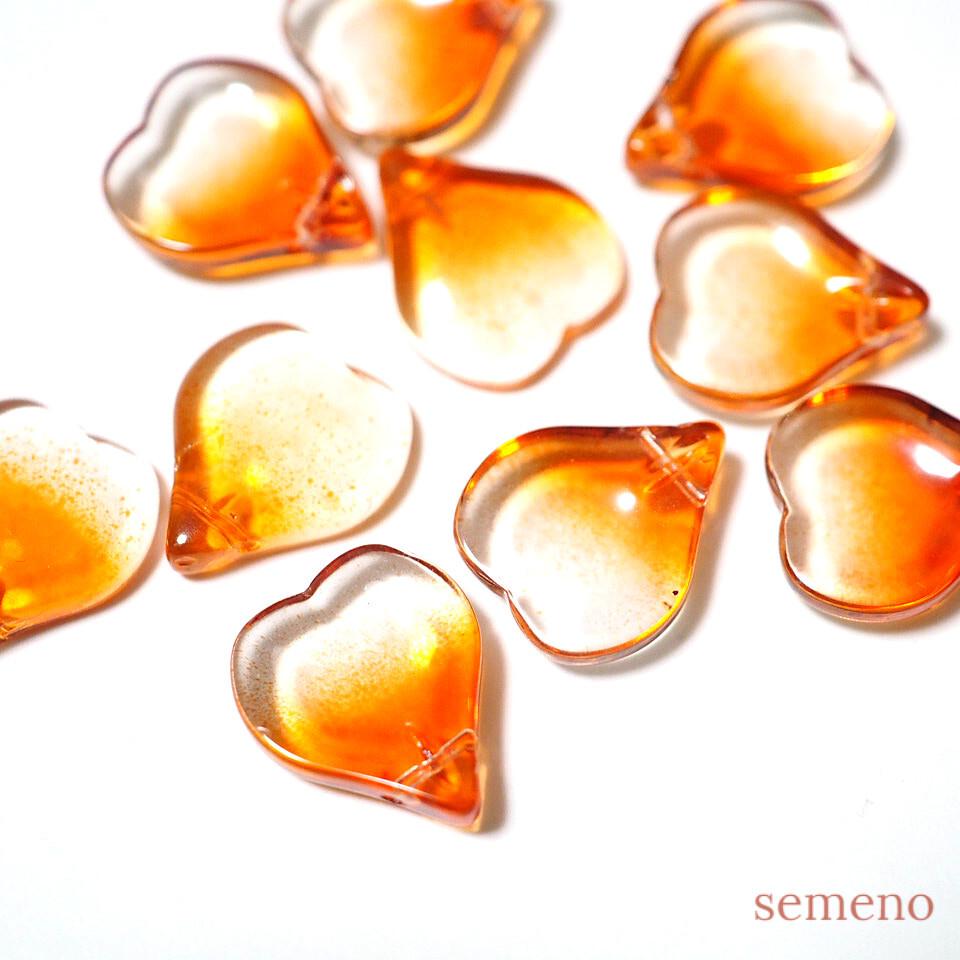 4+1pc ハートの花びらのガラスビーズ チャイナガラス サンセットオレンジ