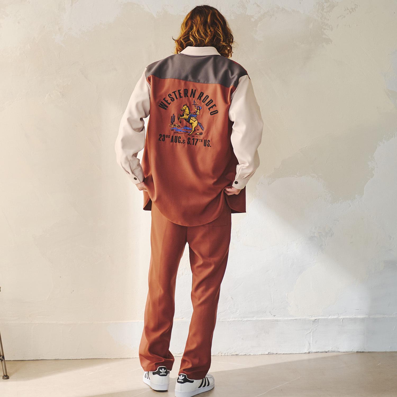 Western柄バック刺繍シャツ NO1701003