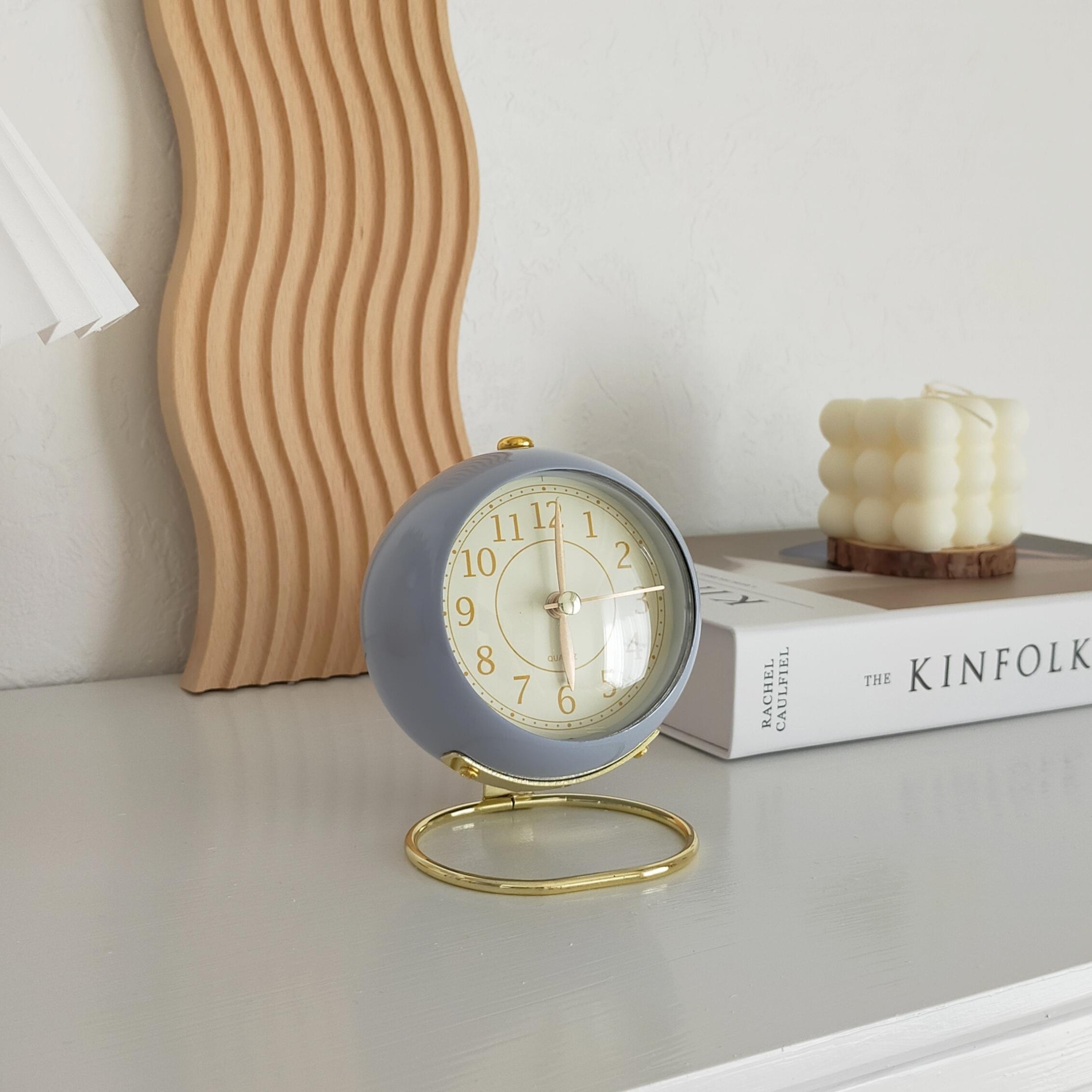 【送料無料】即納 レトロ目覚まし時計 ブルー| クロック 北欧 置き時計 韓国インテリア 韓国雑貨