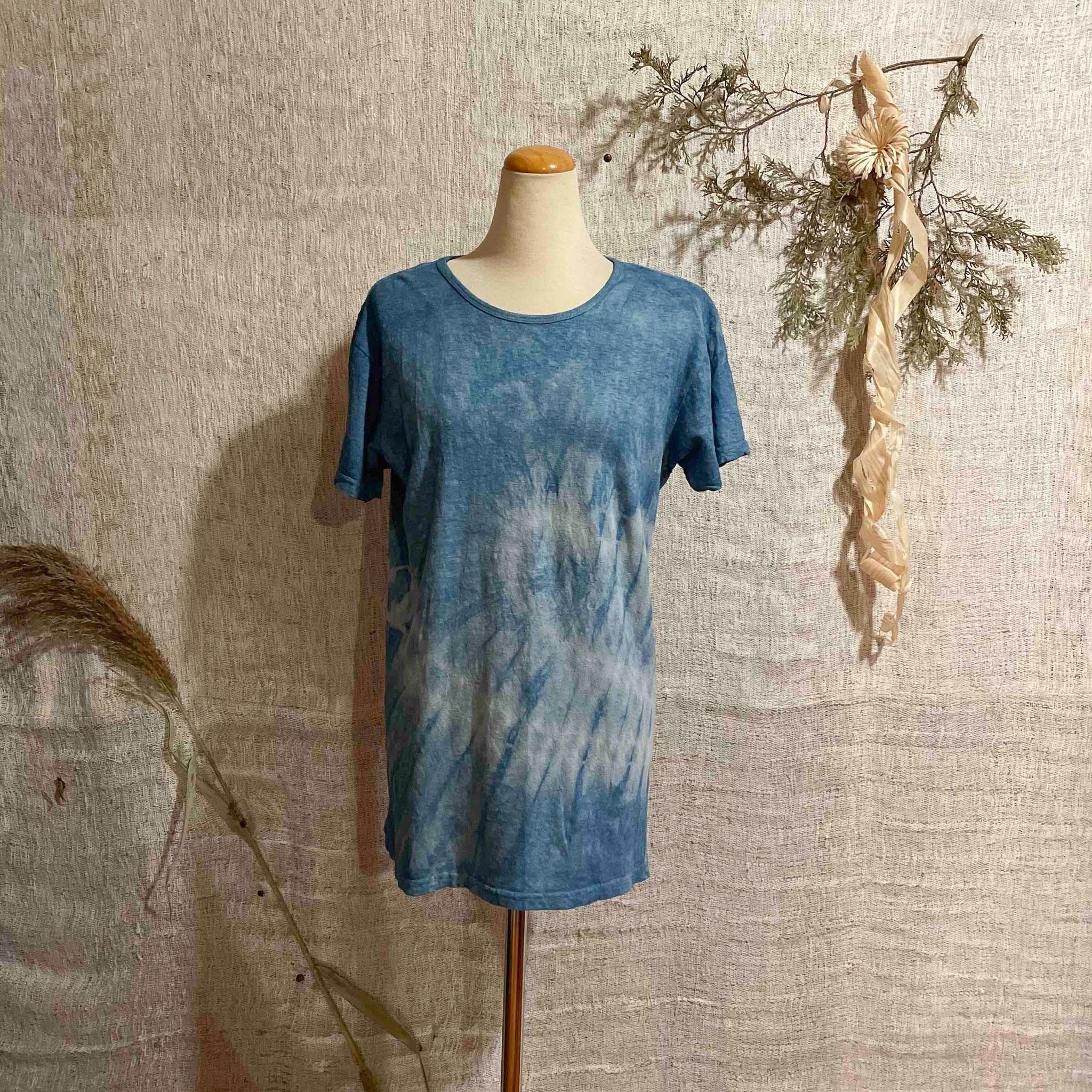 【天然素材・草木染め】Tシャツ ヘンプコットン 藍染Sサイズ