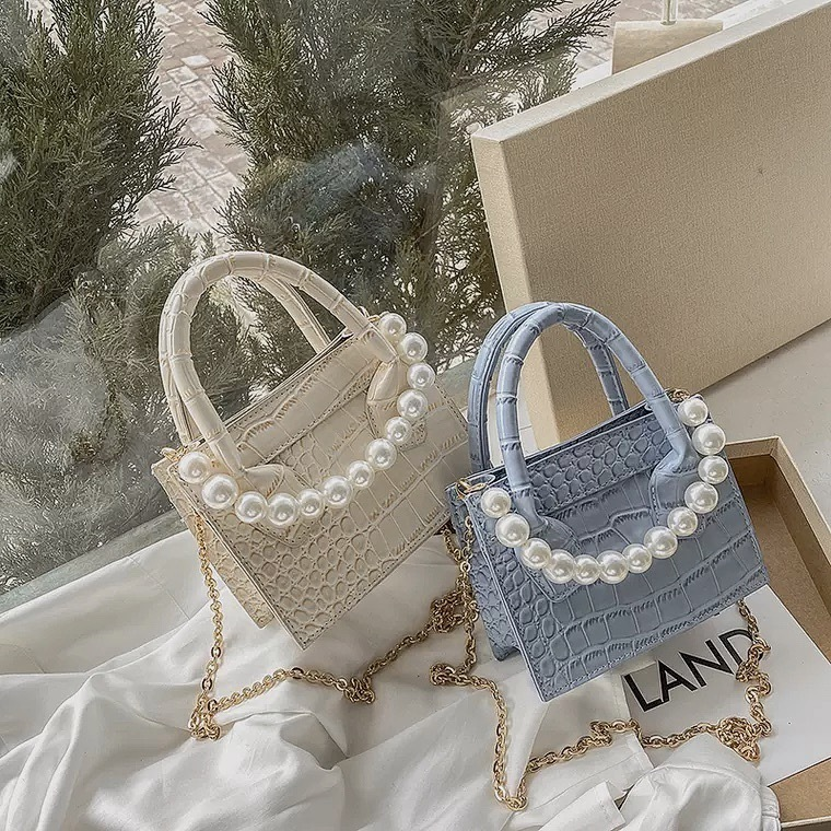pearl chain hand bag 4color
