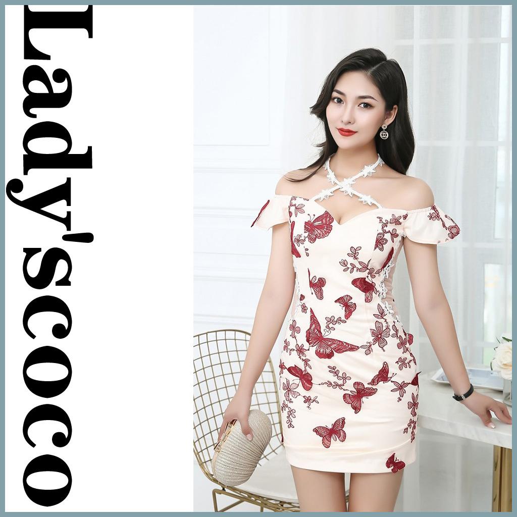 メッシュバタフライ刺繍ドレスYN1080
