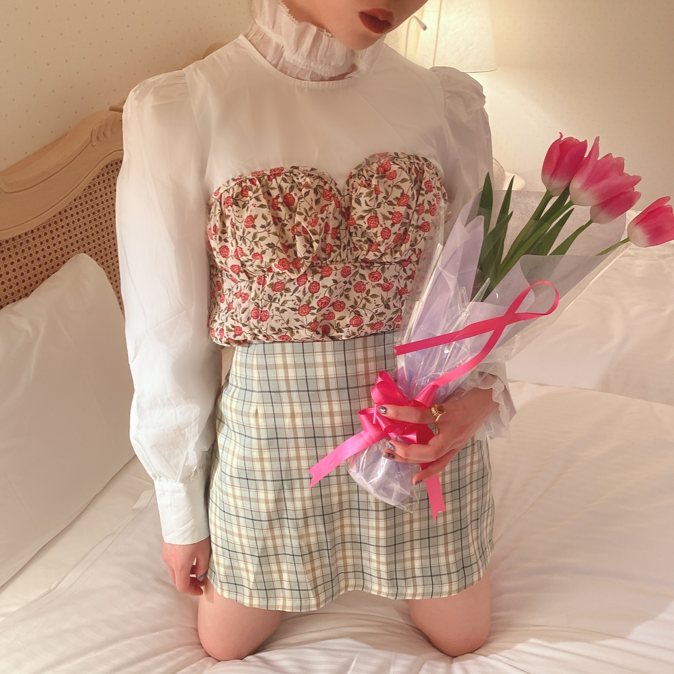 【LAST2】layered bustier blouse