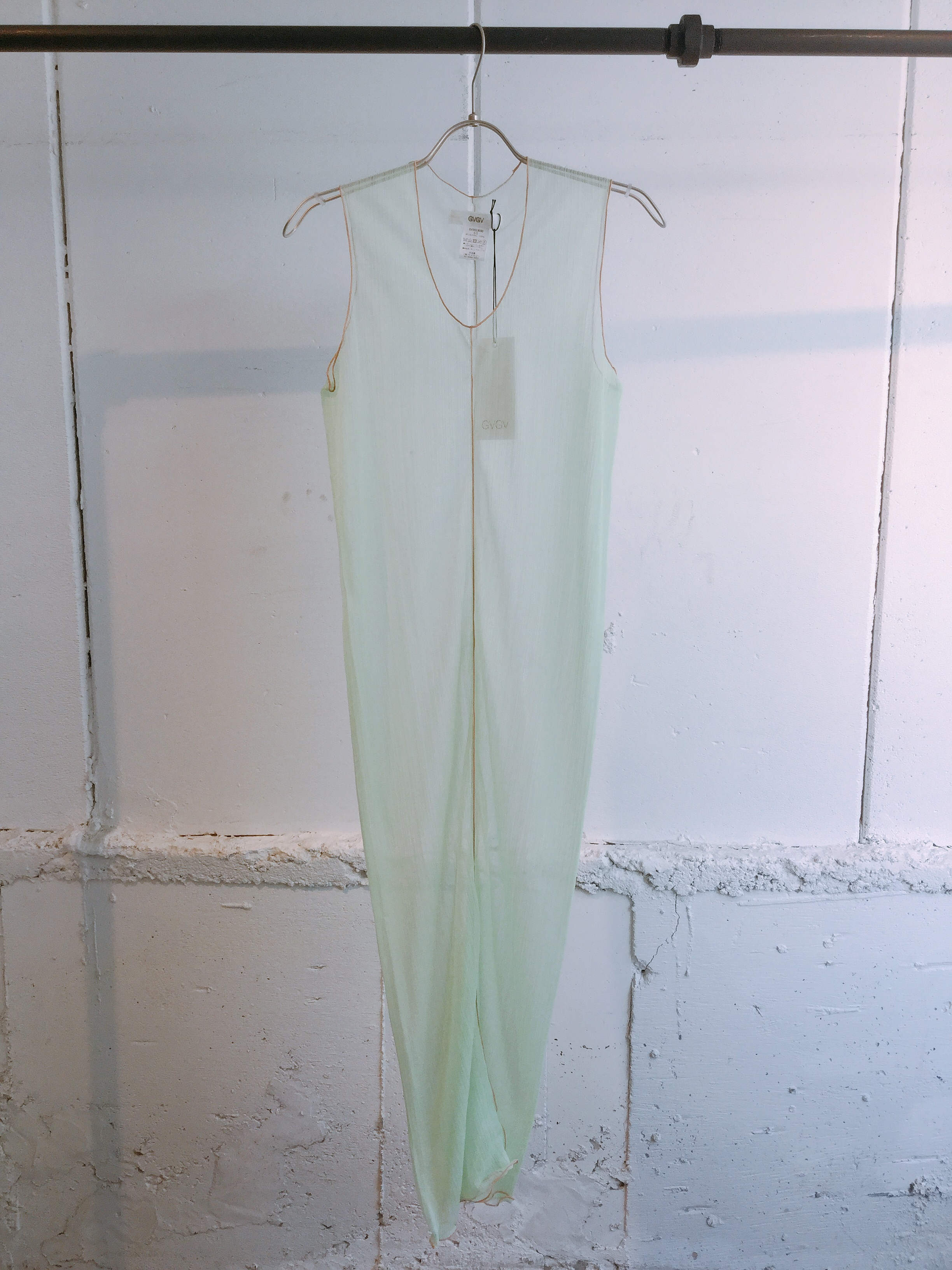 GVGV SHEER JERSEY SLEEVELESS DRESS (GREEN)
