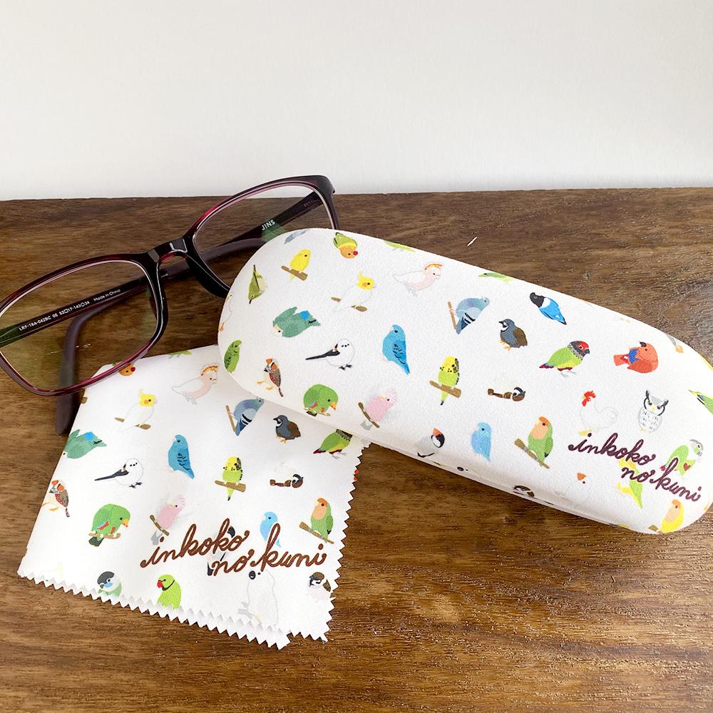 【お得】◆かわいいインコ盛りなクロス付きメガネケース