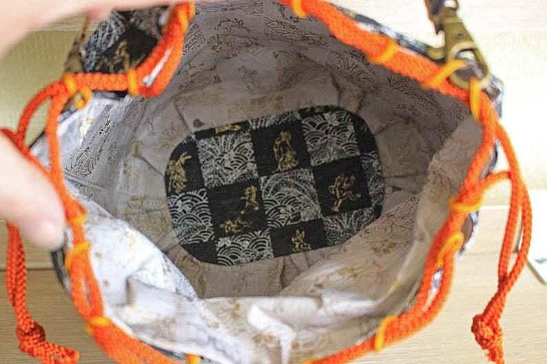 丸形和紙巾着袋&ショルダーバッグ①<Washi paper Round Drawstring Bag/Crossbody bag①>