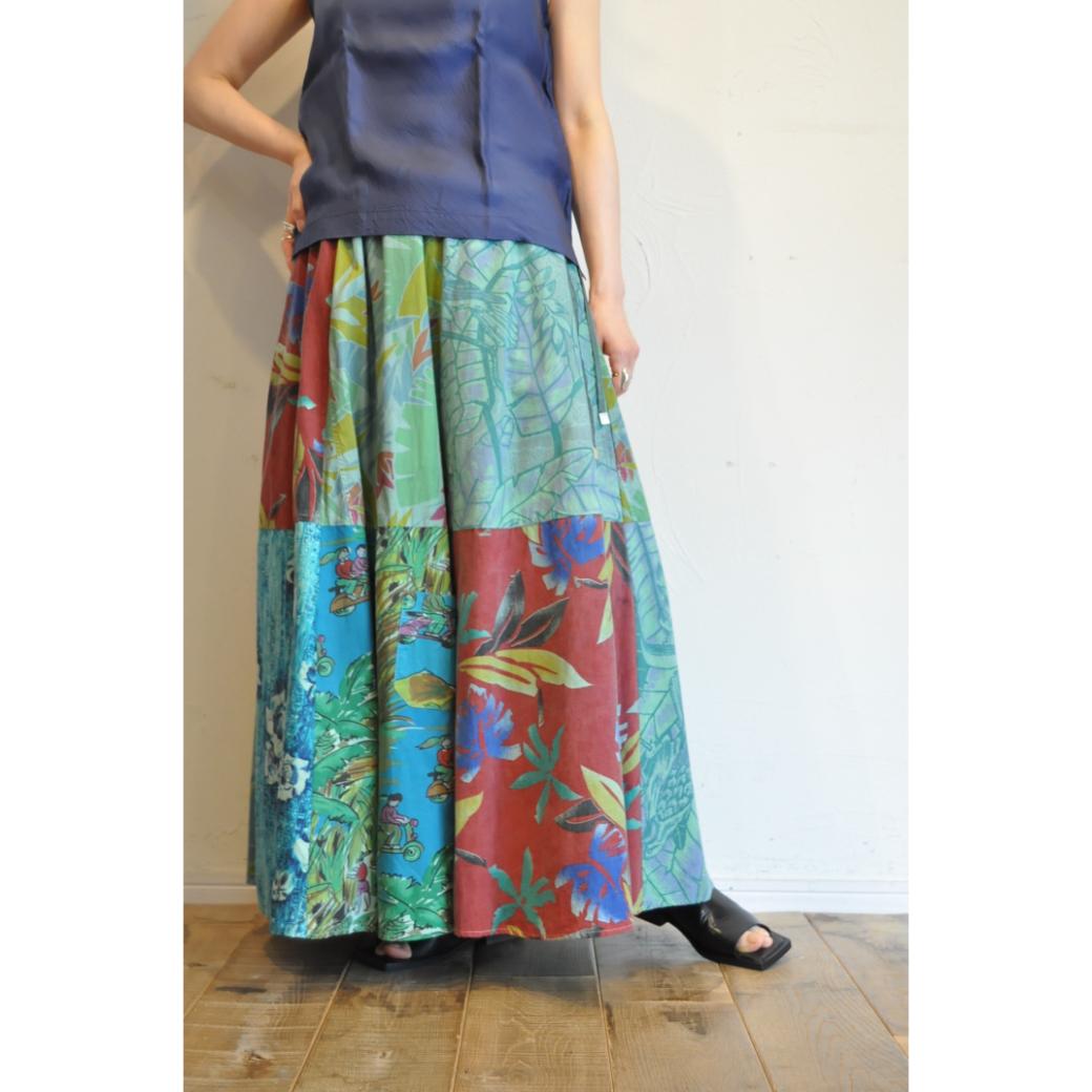 【RehersalL】 aloha flare skirt (mint 4)/【リハーズオール】アロハフレアスカート(ミント4)