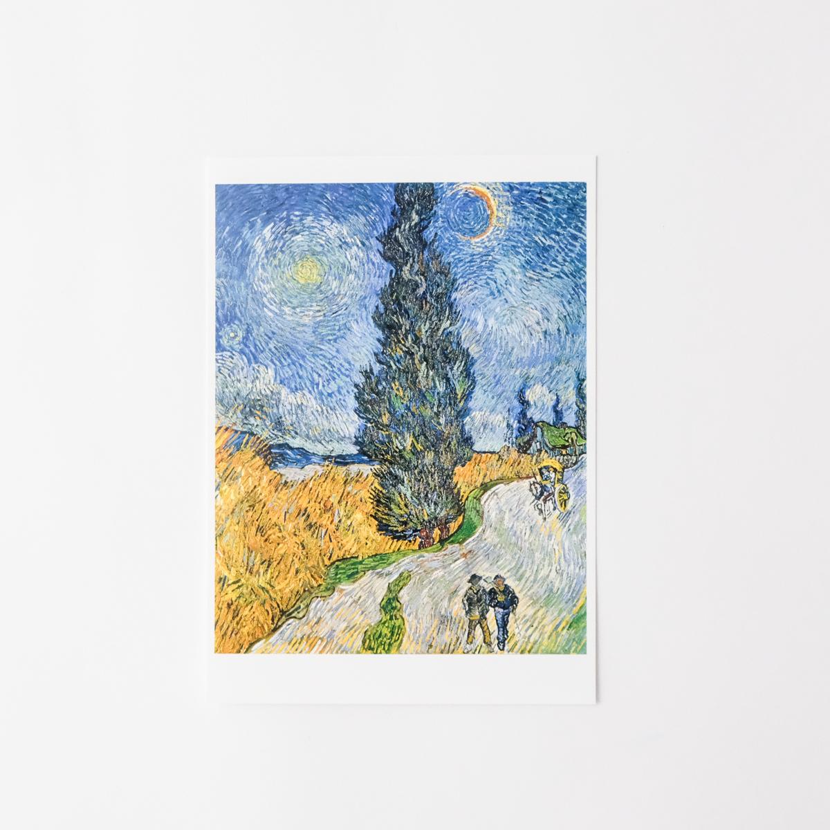 ゴッホ ポストカード 糸杉と星の見える道