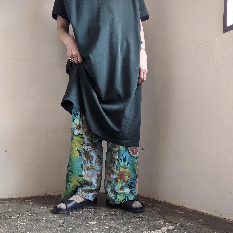 【 REHERSALL 】アロハイージーパンツ / mint / リメイク