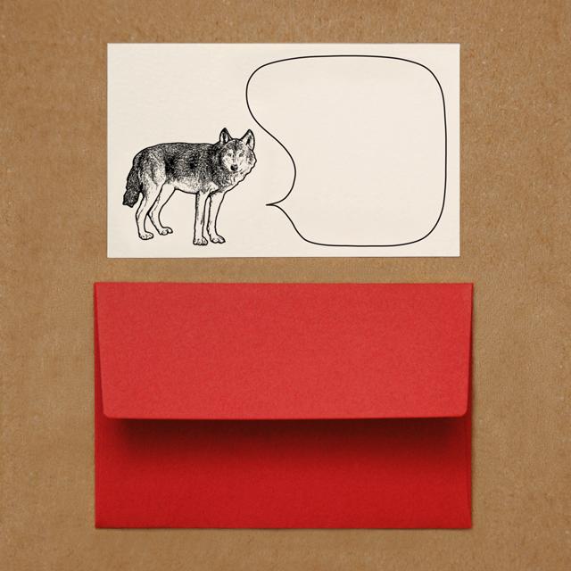 封筒つきメッセージカード(オオカミ)
