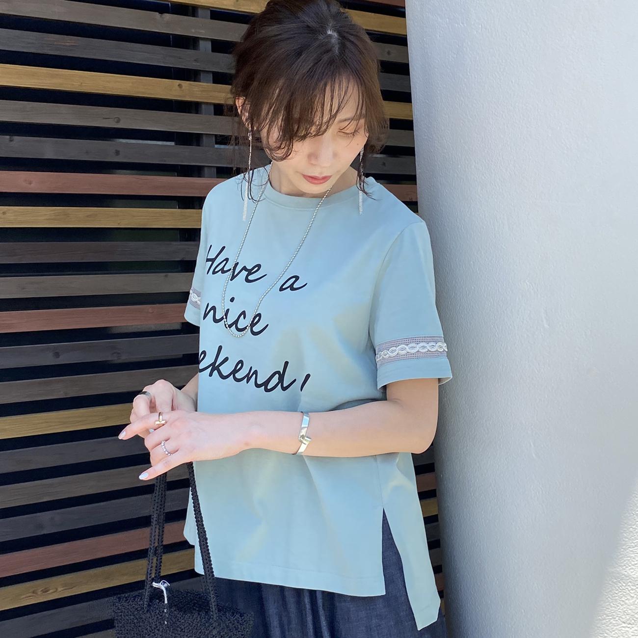 trois/トロア シルケット デザインTシャツ T211-82045