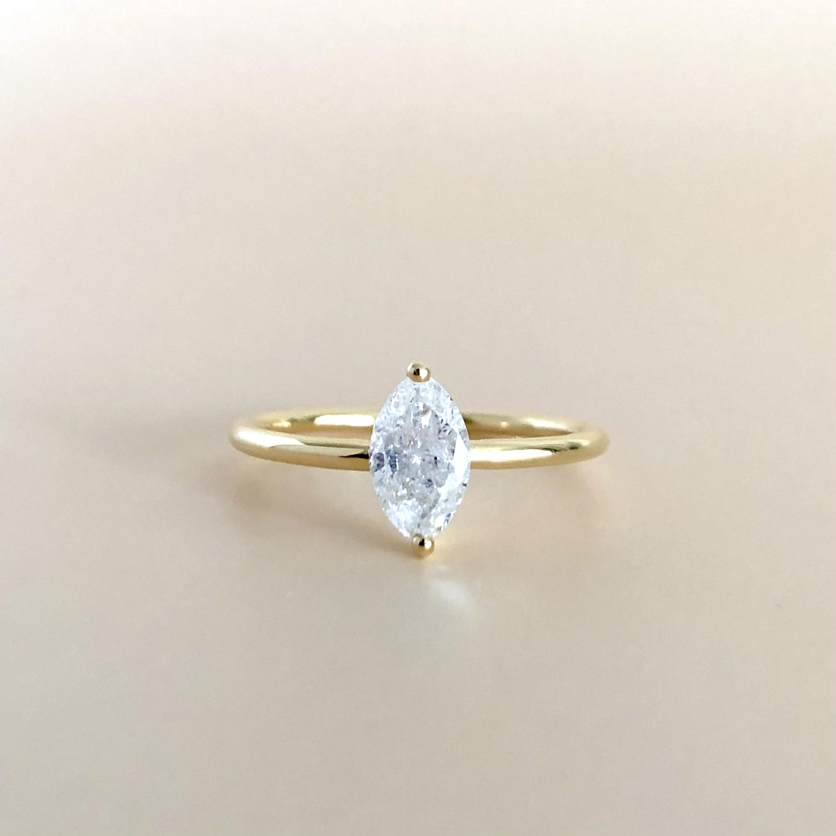 マーキスカット  ダイヤモンド リング  0.452ct  K18イエローゴールド チェカ 鑑別書付