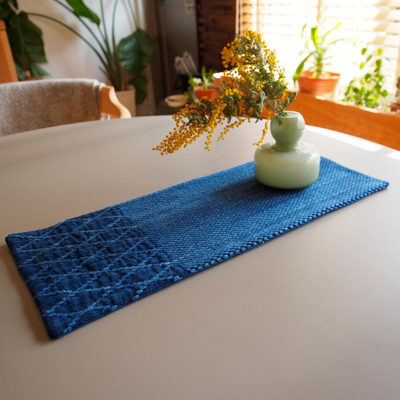 うしじま縫製 | 武州正藍染 テーブルランナー 長方形 二重刺子