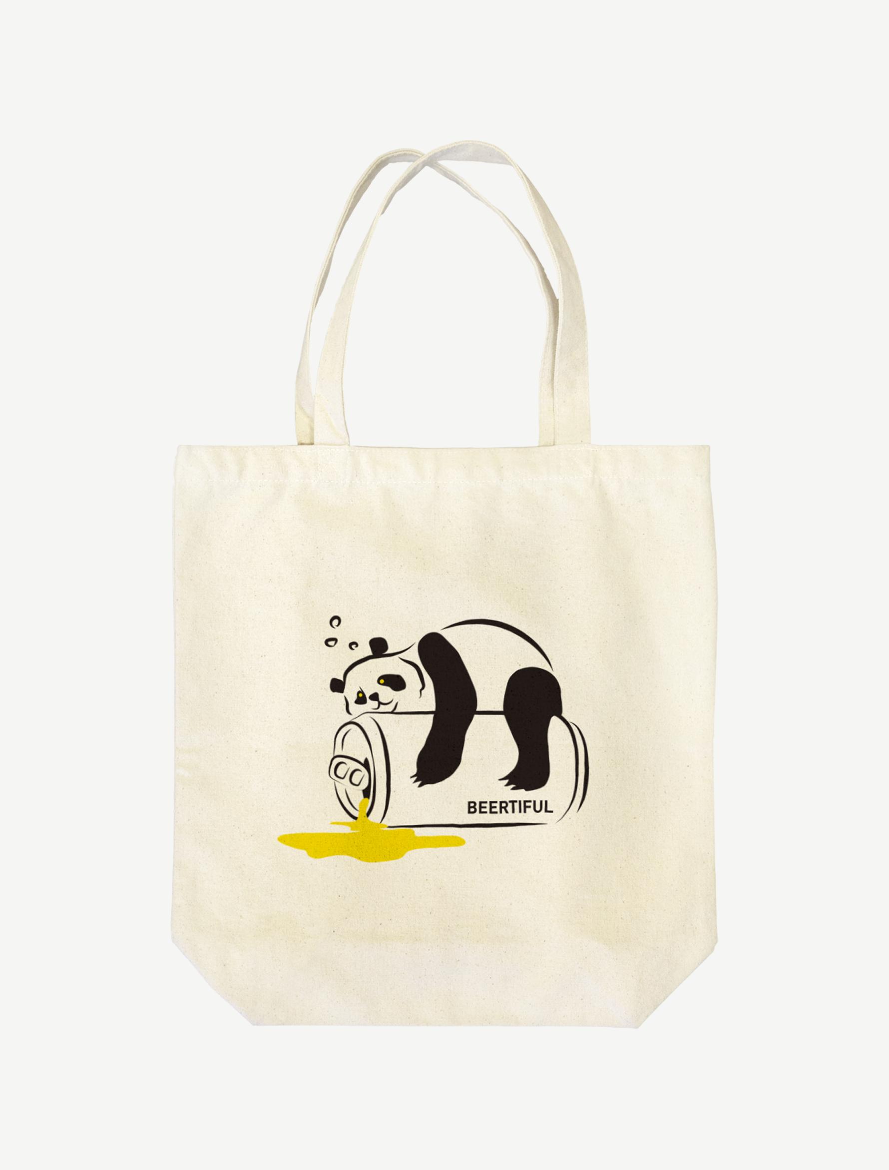 【ほろ酔いパンダ】トートバッグ(ナチュラル)