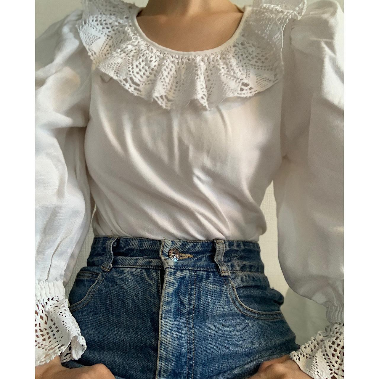 【送料無料】Vintage Dirndl puffy sleeves Austrian blouse