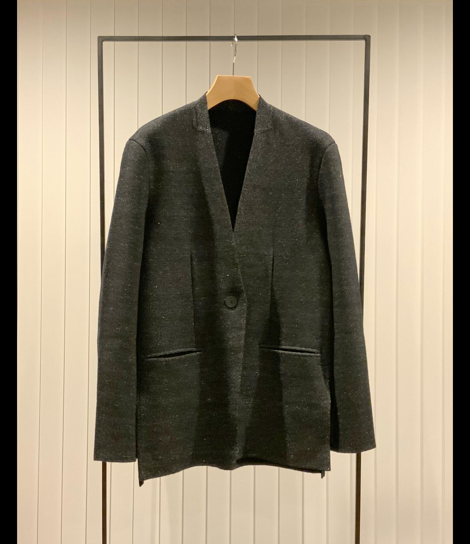 Collarless Knit Jacket / Black