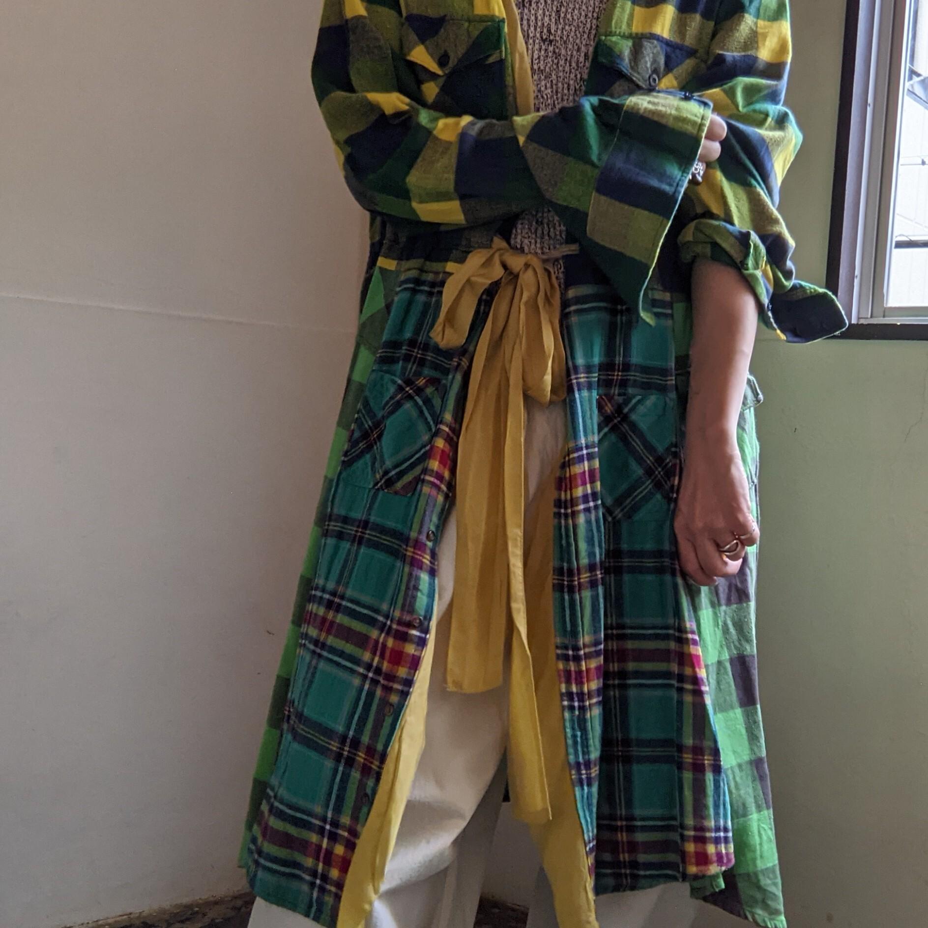 【 REHERSALL 】リハーズオール / リメイク / ネルシャツガウン / remake flannel shirt gown / yellow mix