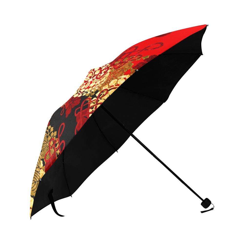 家紋装飾赤 折りたたみ日傘