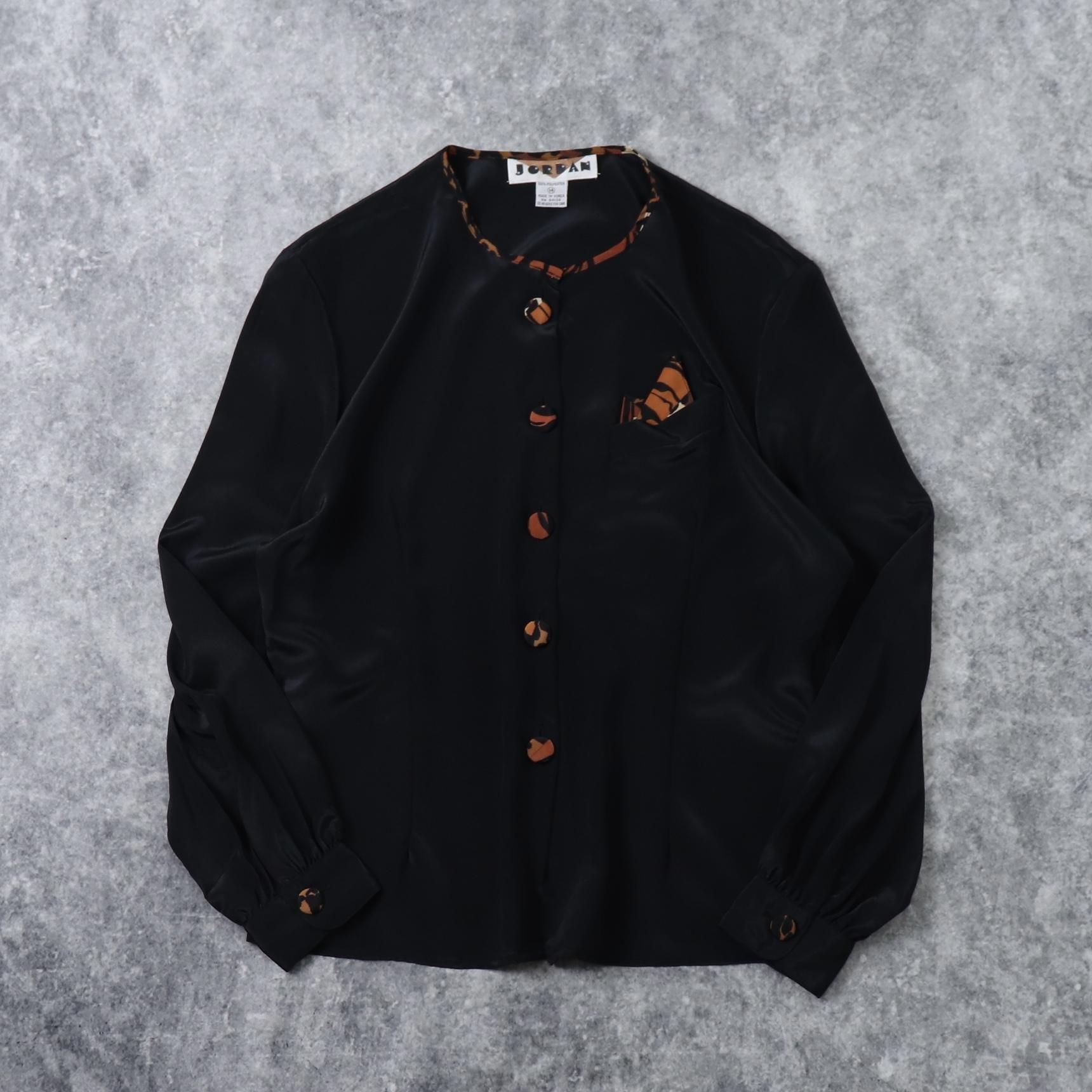 80〜90年代「JORDAN」アニマル柄 レオパード柄 フロントボタン ブラウス カーディガ ポケットチーフ 古着 レディースL  Usa Used leopard  animal Prints Blouse Jackets