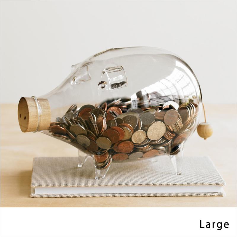 Glass Piggy Bank ガラス貯金箱 Large