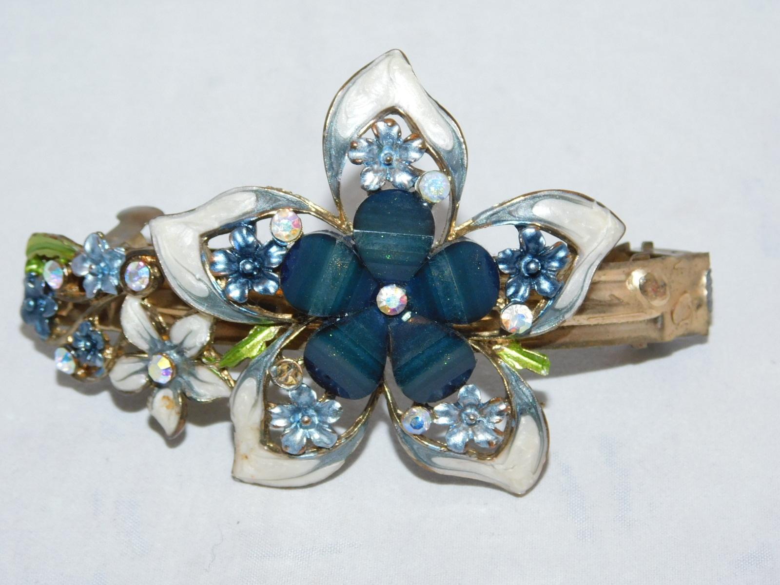大きな花のバレッタ flower metal work ornamental vintage barrette No34)