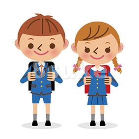 イラスト素材:新入学イメージ/小学生男女(ベクター・JPG)