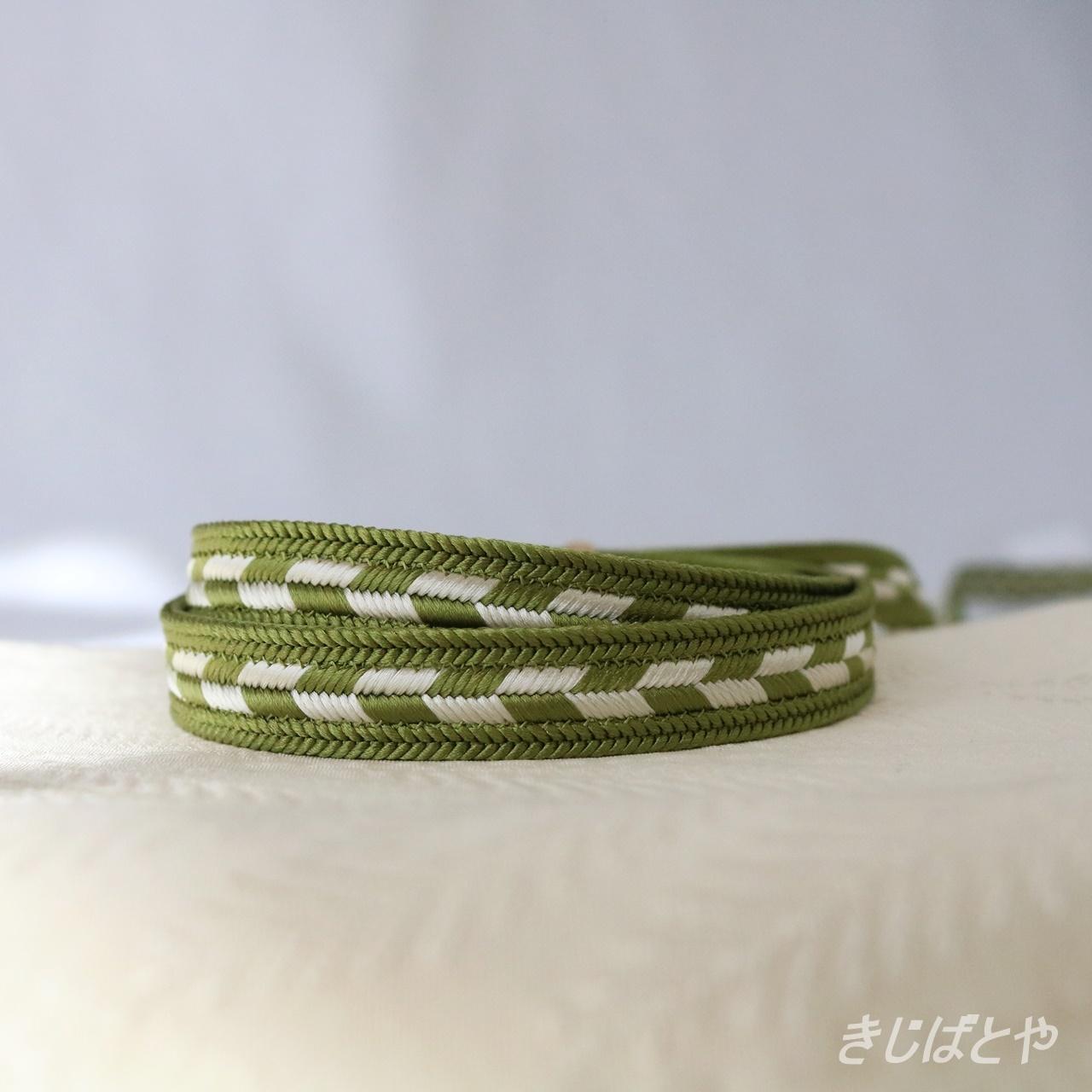 正絹 矢羽根の帯締め 緑衫(ろくそう)