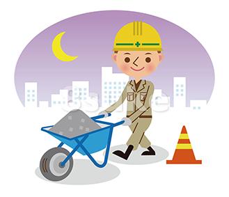 イラスト素材:手押し車で砂利を運ぶ土木作業員/夜間背景(ベクター・JPG)
