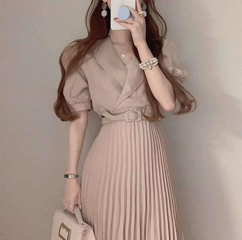 pleats coat dress 3color