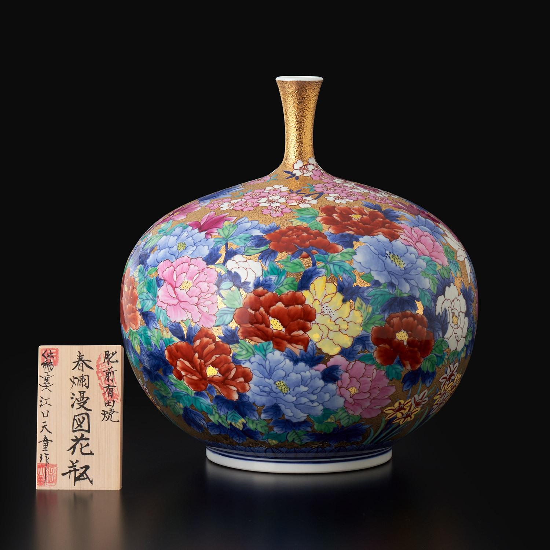 金彩春爛漫図 花瓶