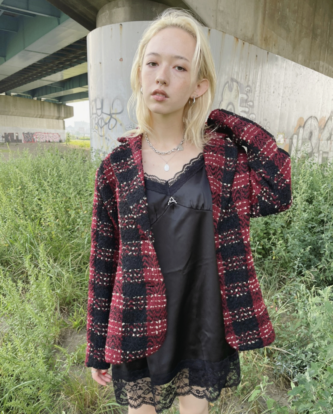 【ASHLEY】original tweed tailored jacket